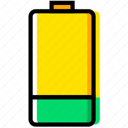 battery, communication, essential, half, interaction icon