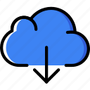cloud, communication, download, essential, interaction icon