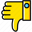 communication, down, essential, interaction, thumbs icon
