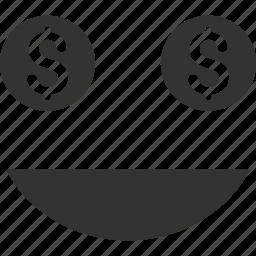 dollar, emoticon, emotion, face, money, smile, smiley icon