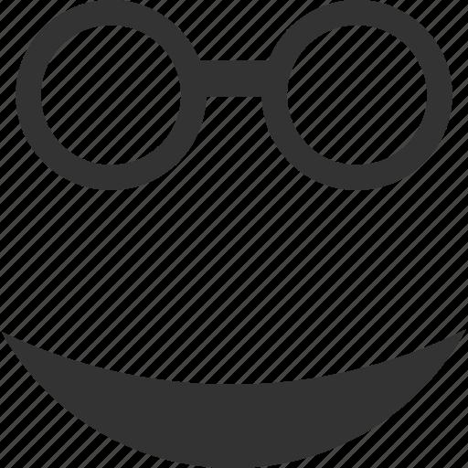 emoticon, emotion, face, glasses, professor, smile, smiley icon