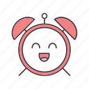alarm clock, emoji, emoticon, happy, morning, smile, wake up icon