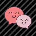 chat, emoji, emoticon, happy, message, smile, speech bubble icon