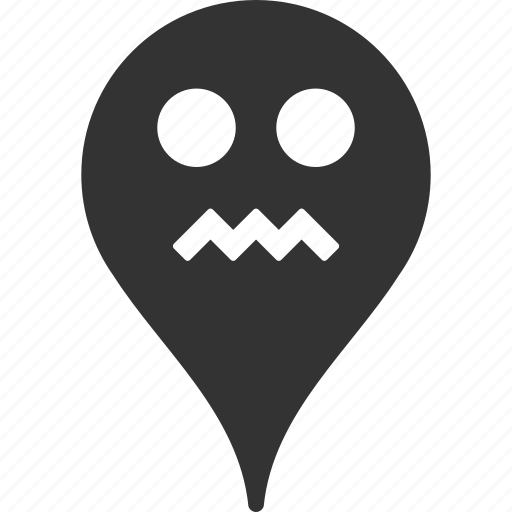 angry, emoticon, emotion, map marker, pointer, position, smile icon