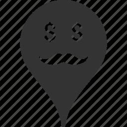 banker, emoticon, emotion, map marker, pointer, position, smile icon