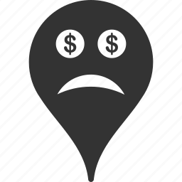 bankrupt, emoticon, emotion, map marker, pointer, position, smile icon