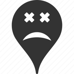 blind, emoticon, emotion, map marker, pointer, position, smile icon