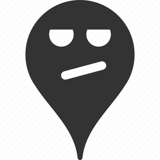 bored, emoticon, emotion, map marker, pointer, position, smile icon