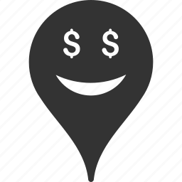 business, emoticon, emotion, map marker, pointer, position, smile icon