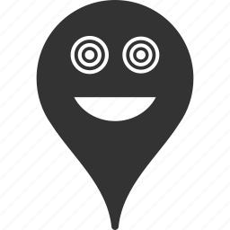 crazy, emoticon, emotion, map marker, pointer, position, smile icon