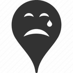 cry, emoticon, emotion, map marker, pointer, position, smile icon