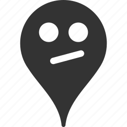 doubt, emoticon, emotion, map marker, pointer, position, smile icon