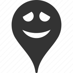 embarrassment, emoticon, emotion, map marker, pointer, position, smile icon