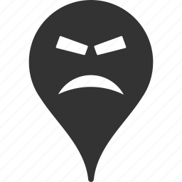 emoticon, emotion, furious, map marker, pointer, position, smile icon