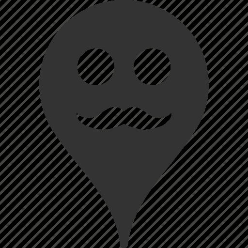 emoticon, emotion, gentleman, map marker, pointer, position, smile icon