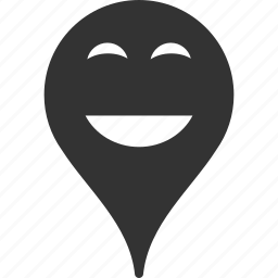 emoticon, emotion, happy, map marker, pointer, position, smile icon