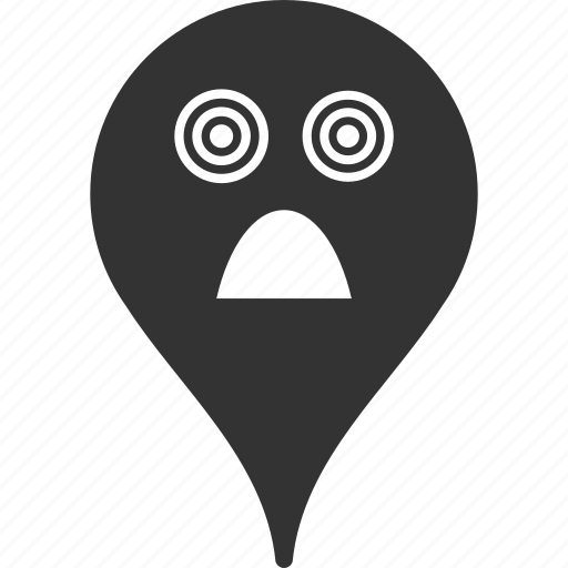 emoticon, emotion, horror, map marker, pointer, position, smile icon