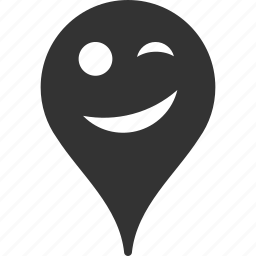 emoticon, emotion, joke, map marker, pointer, position, smile icon
