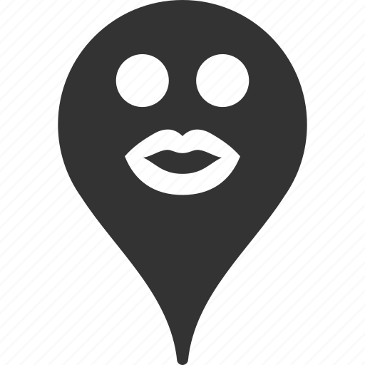 emoticon, emotion, kiss, map marker, pointer, position, smile icon