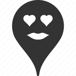 emoticon, lady, love, map marker, pointer, position, smile icon