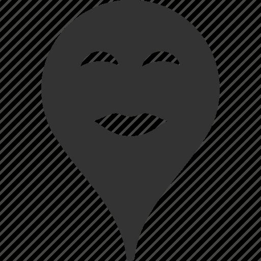 emoticon, lady, map marker, pleasure, pointer, position, smile icon
