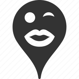 emoticon, lady, map marker, pointer, position, smile, wink icon