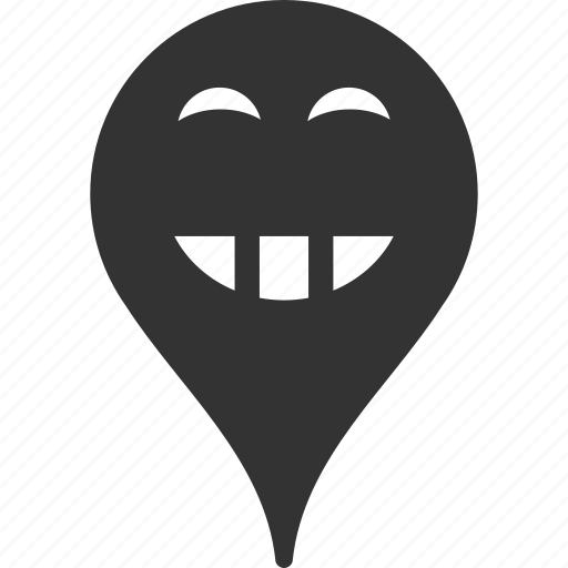 emoticon, emotion, laugth, map marker, pointer, position, smile icon