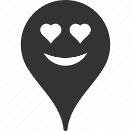 emoticon, emotion, love, map marker, pointer, position, smile icon