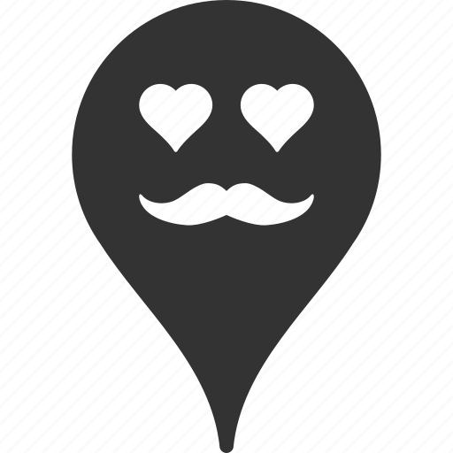 emoticon, emotion, lover, map marker, pointer, position, smile icon