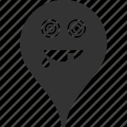 emoticon, emotion, maniac, map marker, pointer, position, smile icon