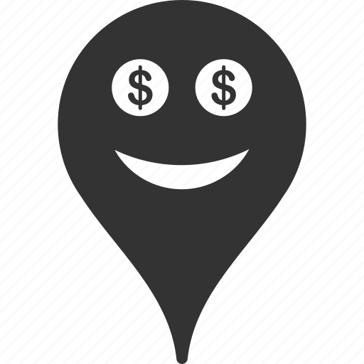 emoticon, emotion, map marker, money, pointer, position, smile icon
