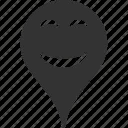 emoticon, emotion, map marker, pleasure, pointer, position, smile icon