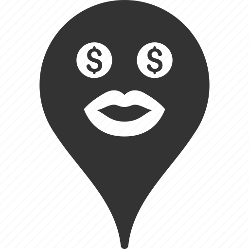 emoticon, emotion, map marker, pointer, position, prostitute, smile icon