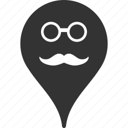 emoticon, emotion, map marker, pointer, position, retired, smile icon