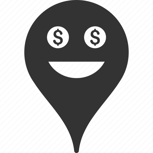 emoticon, emotion, map marker, pointer, position, rich, smile icon