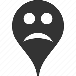 emoticon, emotion, map marker, pointer, position, sad, smile icon