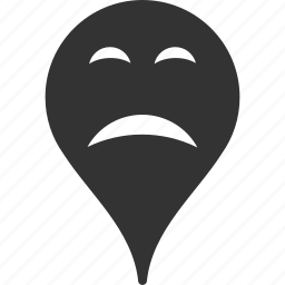 emoticon, emotion, map marker, pointer, position, sadness, smile icon