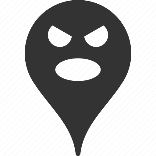 emoticon, emotion, map marker, pointer, position, scream, smile icon
