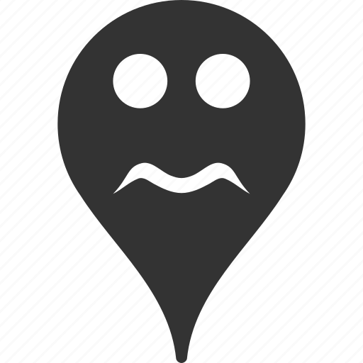 emoticon, emotion, map marker, pointer, position, serious, smile icon