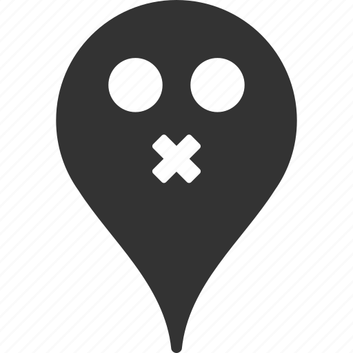 emoticon, emotion, map marker, pointer, position, silence, smile icon