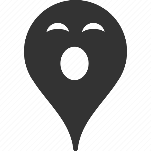 emoticon, emotion, map marker, pointer, position, sleepy, smile icon