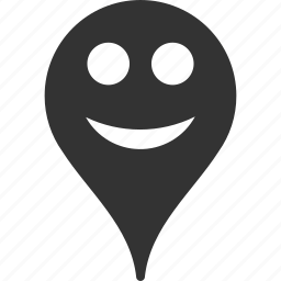 emoticon, emotion, map marker, pointer, position, smile icon