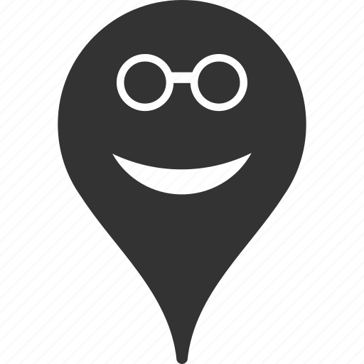 emoticon, emotion, map marker, pointer, position, smile, spectacles icon