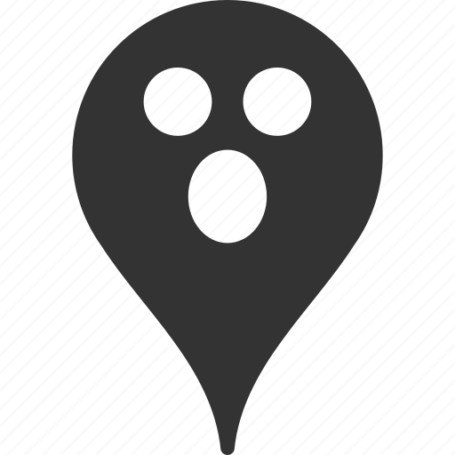 emoticon, emotion, map marker, pointer, position, smile, surprized icon