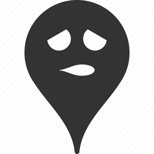 emoticon, emotion, map marker, pointer, position, smile, thinking icon