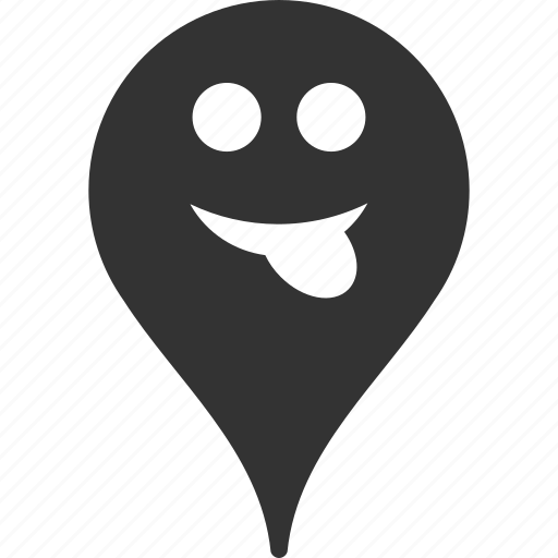 emoticon, emotion, map marker, pointer, position, smile, tongue icon