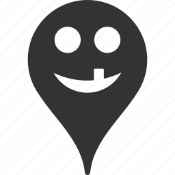 emoticon, emotion, map marker, pointer, position, smile, tooth icon