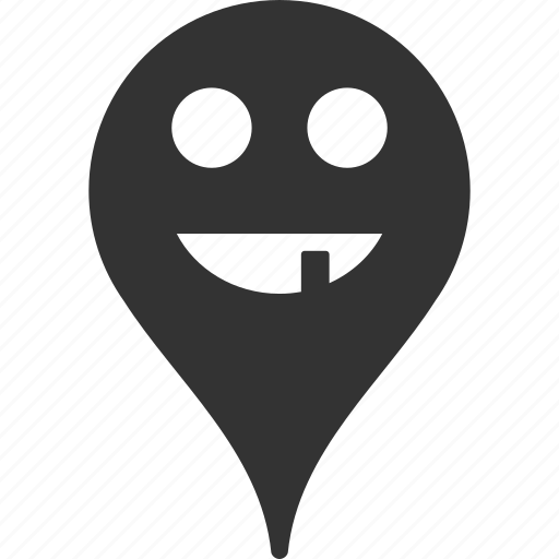 emoticon, emotion, map marker, pointer, position, smile, toothless icon