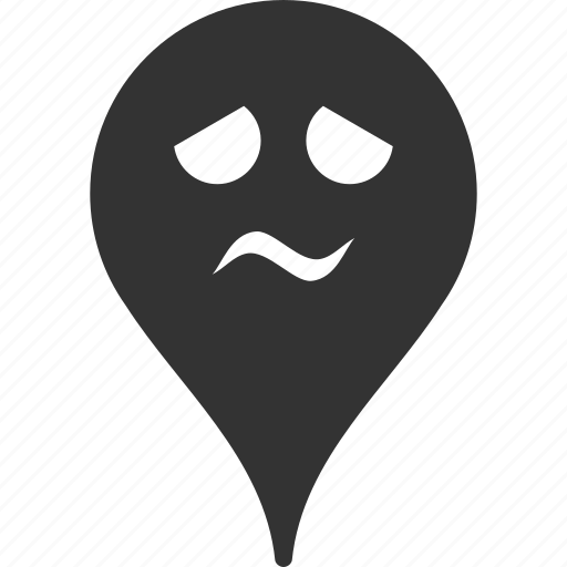 emoticon, emotion, map marker, pointer, position, smile, trouble icon