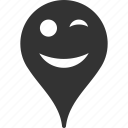 emoticon, emotion, map marker, pointer, position, smile, wink icon